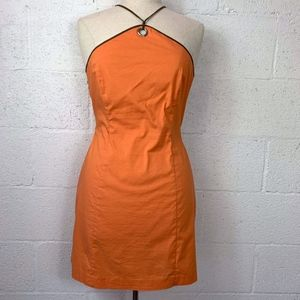 BCBGMaxAzria Sz 6 Orange Halter Neck Fit Dress